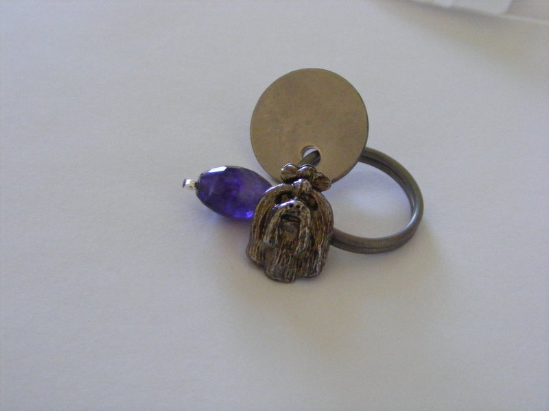Yorkshire Terrier with Amethyst crystal and dog tag